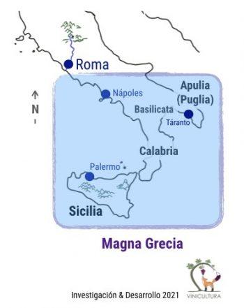 Fig. 1. Áreas del sur de Italia colonizadas por los griegos, alrededor del año 800 a.C., que se conocen como la Magna Grecia (Gran Grecia).